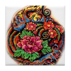 Flowers and Water Tattoo Tile Coaster