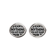 CAN DO Inspirational Saying Oval Cufflinks
