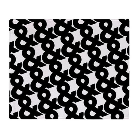 ampersand pattern black and white throw blanket by oddmatterhome. Black Bedroom Furniture Sets. Home Design Ideas
