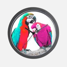 Colorful Parrots Wall Clock