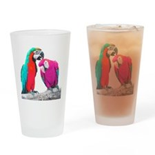 Colorful Parrots Drinking Glass