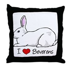 I Heart Beveren Rabbits Throw Pillow