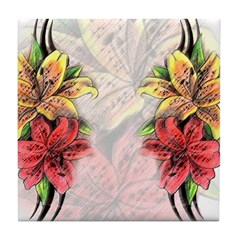 Beautiful Flowers Tile Coaster