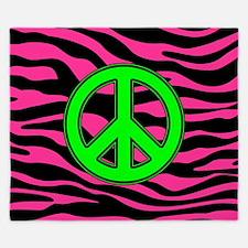 HOT PINK ZEBRA GREEN PEACE King Duvet