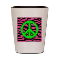 HOT PINK ZEBRA GREEN PEACE Shot Glass