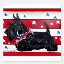 "American Scottie Square Car Magnet 3"" x 3"""
