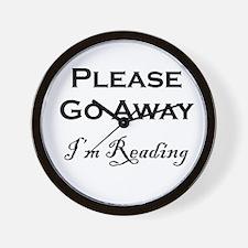 Please Go Away Im Reading Wall Clock