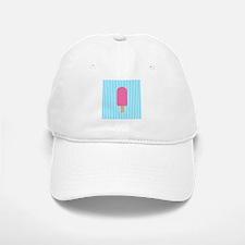 Pink Popsicle on Teal Stripes Baseball Baseball Baseball Cap