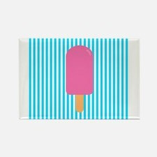 Pink Popsicle on Teal Stripes Magnets
