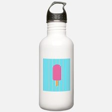 Pink Popsicle on Teal Stripes Water Bottle