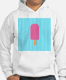Pink Popsicle on Teal Stripes Hoodie