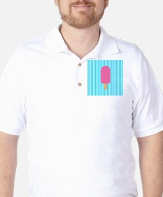 Pink Popsicle on Teal Stripes T-Shirt