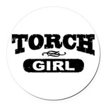 Torch Girl Round Car Magnet