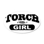 Torch Girl Oval Car Magnet