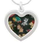 Chalk Toys on Blackboard Silver Heart Necklace