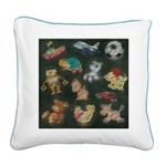 Chalk Toys on Blackboard Square Canvas Pillow