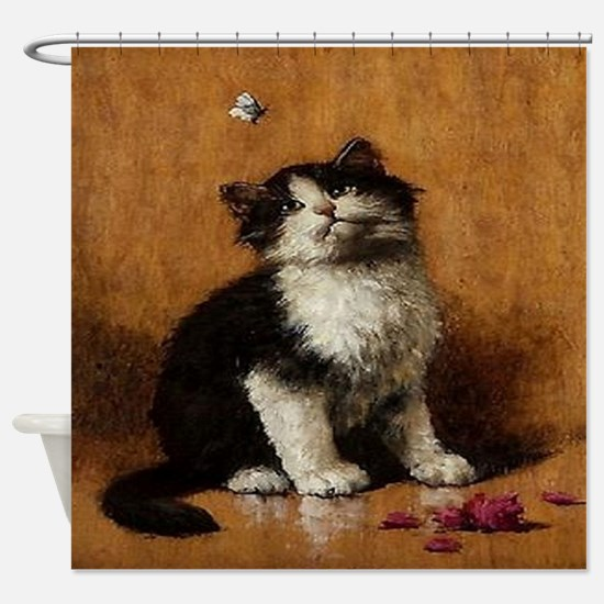 Cat With Butterfly Shower Curtain