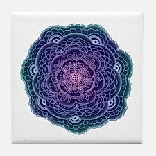 Purple and Blue Lace Flower Tile Coaster