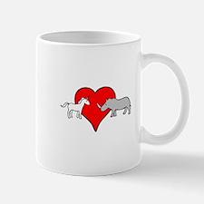 Unicorn Loves Rhino Mugs