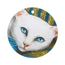 Cat 302 white cat Round Ornament
