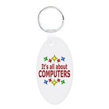 Shiny About Computers Aluminum Oval Keychain