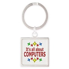 Shiny About Computers Square Keychain