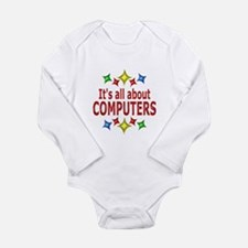 Shiny About Computers Long Sleeve Infant Bodysuit