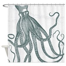 Vintage Octopus In Deep Green With Shower Curtain