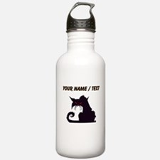 Custom Angry Black Cat Water Bottle