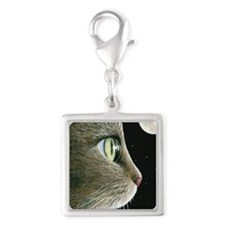 Cat 413 Silver Square Charm