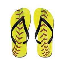 High-Visibility Yellow Softball Flip Flops