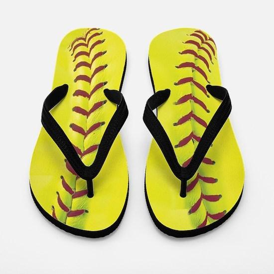 High-Visibility Yellow Softball Flip Flops