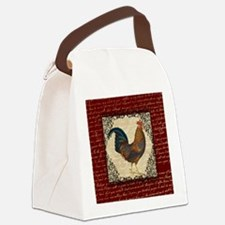 Red Vintage Rooster Canvas Lunch Bag