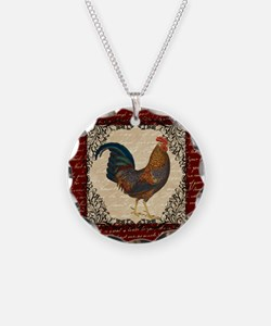 Red Vintage Rooster Necklace