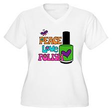 Peace Love Polish White Plus Size T-Shirt