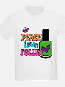 Peace Love Polish Kids' White T-Shirt