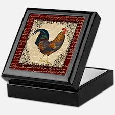 Red Vintage Rooster Keepsake Box