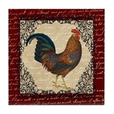 Red Vintage Rooster Tile Coaster