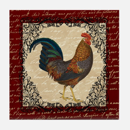 Red Vintage Rooster Tile Coaster