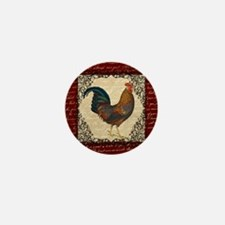 Red Vintage Rooster Mini Button