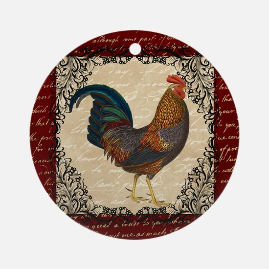 Red Vintage Rooster Ornament (Round)