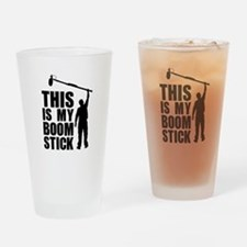 Boom Stick (black logo) Drinking Glass