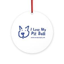 I Love My Pit Bull Ornament (round)