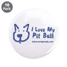 "I Love My Pit Bull 3.5"" Button (10 Pack)"
