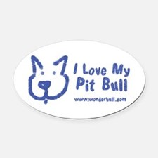 I Love My Pit Bull Oval Car Magnet