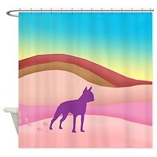 Boston Terrier Retro Hills Shower Curtain