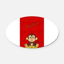 Monkey with Bananas Oval Car Magnet