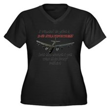 B-52 Stratof Women's Plus Size V-Neck Dark T-Shirt