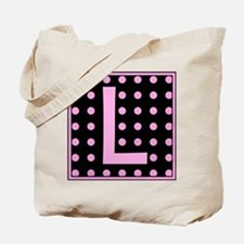 Pink Dots on Black Monogram Tote Bag