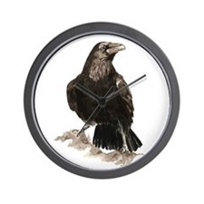 Watercolor Raven Bird Animal Art Wall Clock